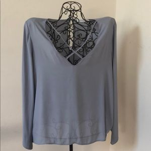 EUC Bluish/Gray bell sleeve top, straps in front